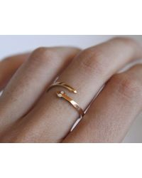 Lumo | Metallic Snake Ring With Diamond Eye | Lyst