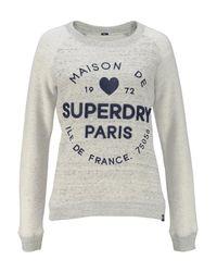Superdry Gray Sweatshirt »APPLIQUE SLIM CREW« mit aufwendiger Stickerei