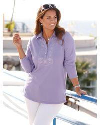 m. collection Purple Sweatshirt mit Polokragen und kleinem V-Auschnitt