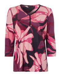 Olsen Pink 3/4-Arm-Shirt mit großflächigem Blumendruck