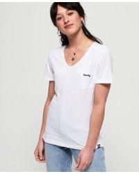Superdry White V-Shirt »OL ESSENTIAL VEE TEE« mit leichtem Melange-Effekt