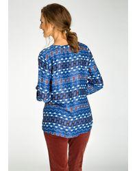 Olsen Blue Langarmbluse mit grafischem Allover-Print