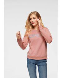 ONLY Pink Sweatshirt »JOYCE« mit glänzendem Markenprint vorn