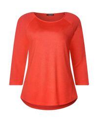 Street One Red 3/4-Arm-Shirt im Color Block Design