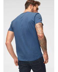 Tom Tailor Denim Rundhalsshirt mit Frontprint in Blue für Herren