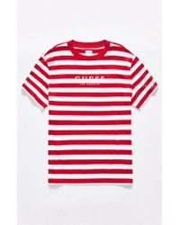 2cf3fb5d7419 Guess Stream Stripe T-shirt in Red for Men - Lyst