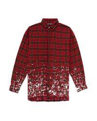 メンズ Palm Angels ロゴ チェックシャツ Red