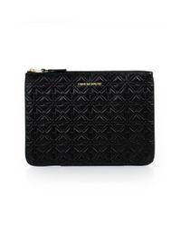 Comme des Garçons - Embossed Leather Pouch Star Print Black - Lyst