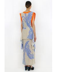 Fendi Blue Floral Print Asymmetric Dress Beige