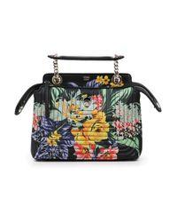 Fendi | Dot Com Floral Print Mini Bag Black/multi | Lyst