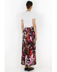 Emilio Pucci Black Pleated Printed Jersey Maxi Skirt Brick