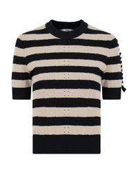 Fendi Stripe Contrast Lace Crop Knit Black/beige