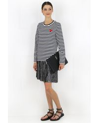 Comme des Garçons - Play Long Sleeve Black Striped T-shirt Red Heart - Lyst