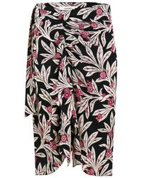 Isabel Marant Etoile Loela Floral Print Wrap Skirt Pink/black