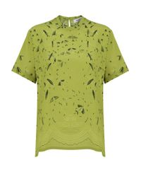 Valentino Swallow Print Top Acid Grass Green