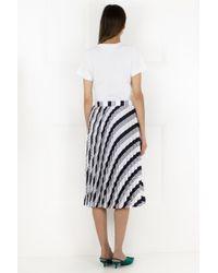 Balenciaga - Stripe Sunray Pleated Skirt Black - Lyst
