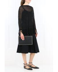 Valentino Black Fringed Lace Poncho