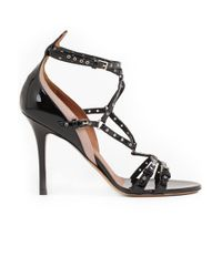 Valentino | Love Latch Open Toe Heel Patent Leather Black/poudre | Lyst