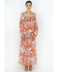 Emilio Pucci Pink Nastri Print Maxi Dress Rose