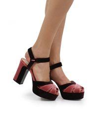 Fendi Duo Velvet Platform Sandal Pink