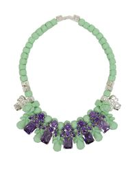 EK Thongprasert Green Silicone Five Jewel & Metal Neckpiece Mint/amethyst Crystals