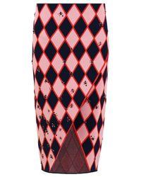 Cedric Charlier Diamond Print Knit Skirt Pink/black/red