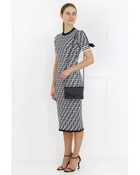 1564561378db Lyst - Fendi Ff Logo Knit Midi Dress Black white in Black
