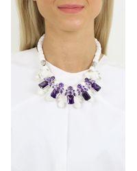 EK Thongprasert Silicone Five Jewel & Metal Neckpiece White/amethyst Crystals