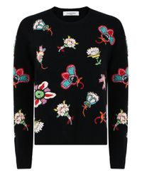 Valentino Pop Flower Knit Black