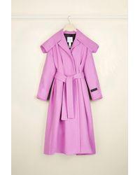 Patou ベルト付きカシミア&ウールブレンド コート Pink