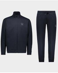 Chándal en algodón con logo en tono Paul & Shark de hombre de color Blue