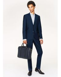 Paul Smith Blue Men's Navy 'new City' Leather Business Folio for men