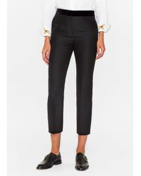 Paul Smith - Women's Slim-fit Black Wool-silk Trousers With Velvet Waistband - Lyst
