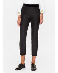 Paul Smith | Women's Slim-fit Black Wool-silk Trousers With Velvet Waistband | Lyst
