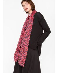 Paul Smith Women's Red 'sea Aster' Floral Pattern Scarf