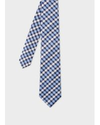 Paul Smith Blue And White Check Silk Tie for men