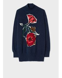 Paul Smith - Blue Women's Navy Wool Sweater With 'woodblock Floral' Intarsia - Lyst