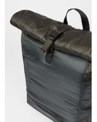 Paul Smith Gray Dark Grey Quilted Nylon Roll-top Backpack for men