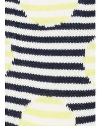 Paul Smith Women's Yellow And Navy Striped-dot Socks