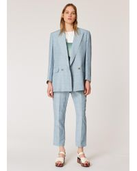 Paul Smith Relaxed-fit Pastel Blue Double Breasted Linen-blend Suit