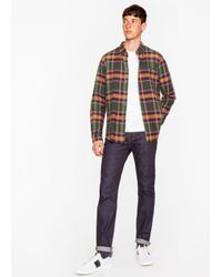 Paul Smith Men's Tailored-fit Green, Orange And Pink Check Cotton-linen Button-down Shirt for men