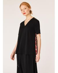 Paul Smith Black V-neck Top With Contrasting