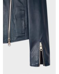 Paul Smith Blue Navy Leather Biker Jacket