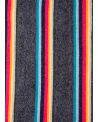 Paul Smith - Multicolor Écharpe Gris Anthracite Bandes 'Artist Stripe' En Laine Mérinos for Men - Lyst