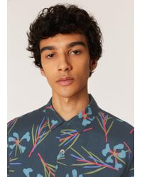 Paul Smith Blue Classic-fit Navy 'cypress' Print Short-sleeve Shirt for men