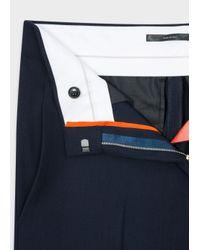 Paul Smith - Blue Women's Navy Wool-viscose Parallel Leg Trousers - Lyst