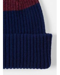 Paul Smith - Blue Men's Navy Ribbed Lambswool Beanie Hat With Plum Stripe for Men - Lyst