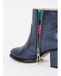 Paul Smith Blue Women's Metallic Navy Leather 'Luna' Boots