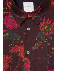 Paul Smith - Red Chemise Homme Bordeaux 'Fantasy Floral' En Coton Coupe Slim for Men - Lyst