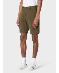 Paul Smith Multicolor Dark Khaki Garment-dyed Stretch Pima-cotton Shorts for men